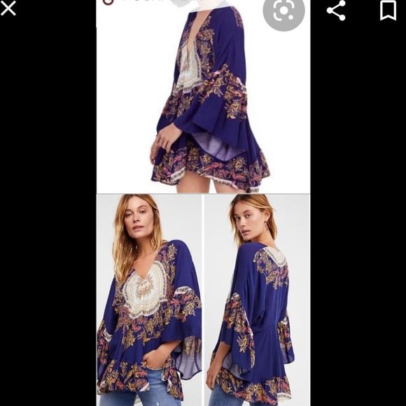 Free People Boho blue tunic length top size M